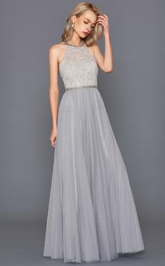 A-Line/Princess Halter Floor-Length Tulle Prom Dresses (018147711)