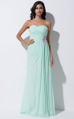 Sheath/Column Sweetheart Floor-Length Chiffon Tulle Prom Dress With Ruffle Lace Beading Sequins Split Front (018055189)