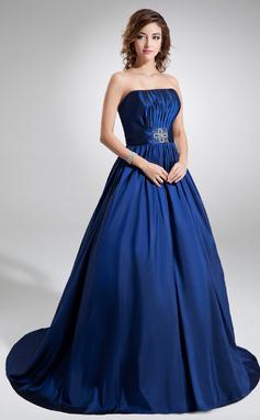 Платье для Балла Без лямок Церемониальный шлейф Тафта Пышное платье с Рябь Бисер (021020757)