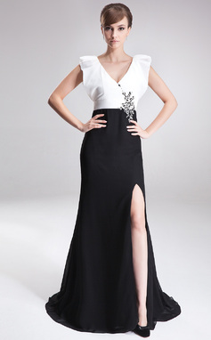 A-Line/Princess V-neck Sweep Train Chiffon Taffeta Mother of the Bride Dress With Beading Sequins Split Front (008006187)