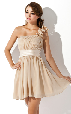 A-Line/Princess One-Shoulder Short/Mini Chiffon Homecoming Dress With Ruffle Flower(s) Bow(s) (022007272)