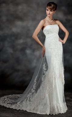 Forme Sirène/Trompette Bustier en coeur Traîne moyenne Tulle Robe de mariée avec Plissé Dentelle (002017186)