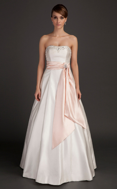 A-Line/Princess Strapless Floor-Length Charmeuse Wedding Dress With Sash Beading (002015492)