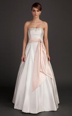 Vestidos princesa/ Formato A Sem Alças Longos Charmeuse Vestido de noiva com Cintos Bordado (002015492)