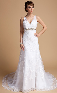 A-Line/Princess V-neck Chapel Train Tulle Wedding Dress With Beading Appliques Lace (002014709)