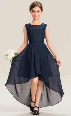 A-Line Scoop Neck Asymmetrical Chiffon Lace Junior Bridesmaid Dress With Bow(s) Cascading Ruffles (009173273)