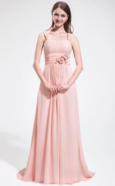 Vestidos princesa/ Formato A Coração Sweep/Brush trem De chiffon Vestido de madrinha com Pregueado Bordado fecho de correr (007025610)