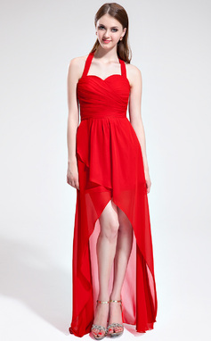 A-Line/Princess Halter Asymmetrical Chiffon Bridesmaid Dress With Ruffle Bow(s) (007025362)