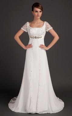 A-linjeformat Rund-urringning Court släp Chiffong Bröllopsklänning med Spetsar Pärlbrodering (002015553)