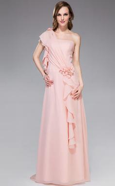 Forme Princesse Encolure asymétrique Traîne watteau Mousseline Robe de vacances avec Emperler Fleur(s) Robe à volants (007040795)
