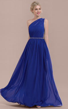 A-Line/Princess One-Shoulder Floor-Length Chiffon Bridesmaid Dress With Ruffle Beading Sequins (007116664)