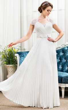 A-Line/Princess Sweetheart Floor-Length Chiffon Lace Wedding Dress With Beading Flower(s) Sequins Pleated (002056475)