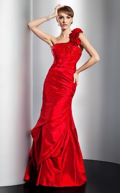 Trumpet/Mermaid One-Shoulder Floor-Length Taffeta Prom Dress With Ruffle Beading (018014775)