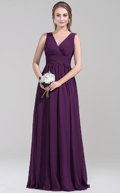 Empire V-neck Floor-Length Chiffon Bridesmaid Dress With Ruffle (007072795)