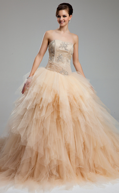 Ball-Gown Sweetheart Cathedral Train Tulle Wedding Dress With Ruffle Lace Beading (002012565)