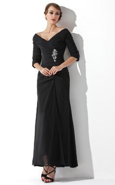 Forme Princesse Hors-la-épaule Longueur cheville Mousseline Robe de mère de la mariée avec Plissé Brodé (008006097)
