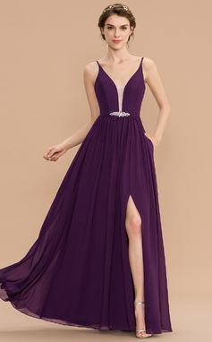 Corte A Decote V Longos Tecido de seda Vestido de madrinha com Beading lantejoulas Frente aberta Bolsos (007176755)