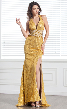 Trumpet/Mermaid V-neck Sweep Train Chiffon Sequined Prom Dress With Beading Split Front (018135261)