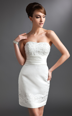 Sheath/Column Sweetheart Short/Mini Satin Mother of the Bride Dress With Lace Beading (008016380)