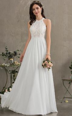 Трапеция Круглый Длина до пола шифон Свадебные Платье (002186384)