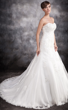 Trumpet/Mermaid Sweetheart Chapel Train Satin Organza Wedding Dress With Lace Beading Appliques Lace (002016902)