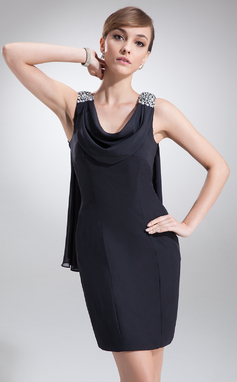 Sheath/Column Cowl Neck Short/Mini Chiffon Cocktail Dress With Beading (016022557)