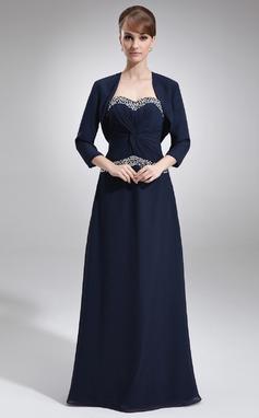A-Lijn/Prinses Sweetheart Vloer lengte De Chiffon Moeder van de Bruid Jurk met Roes Kraalwerk (008016763)
