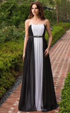 Vestidos princesa/ Formato A Coração Longos De chiffon Vestido de festa com Pregueado Bordado (022027156)