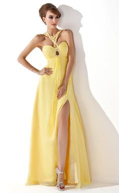 Corte A/Princesa Escote corazón Hasta el suelo Chifón Vestido de baile de promoción con Volantes Bordado Apertura frontal (018005352)