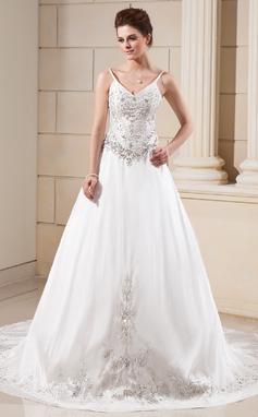 Corte A/Princesa Escote en V Cola capilla Tafetán Vestido de novia con Bordado Bordado (002000045)