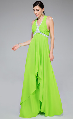 A-Line/Princess V-neck Floor-Length Chiffon Prom Dress With Beading Sequins Cascading Ruffles (018046245)