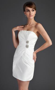 Платье-чехол Без лямок Мини-платье Тафта Коктейльные Платье с Рябь Бисер (008015657)