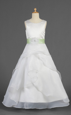 A-Line/Princess Floor-length Flower Girl Dress - Organza/Charmeuse Sleeveless Scoop Neck With Ruffles/Sash/Flower(s) (010014624)