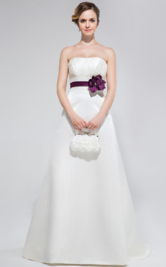 A-Line/Princess Strapless Sweep Train Satin Bridesmaid Dress With Ruffle Sash Flower(s) (018047253)