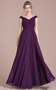 A-Line/Princess Off-the-Shoulder Floor-Length Chiffon Bridesmaid Dress With Ruffle (007104732)