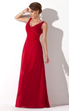 A-Line/Princess V-neck Floor-Length Chiffon Bridesmaid Dress With Ruffle Beading (007001571)