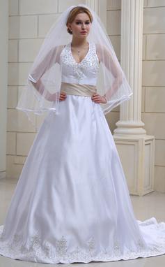 Corte A/Princesa Cabestro Cola capilla Satén Vestido de novia con Bordado Fajas Bordado (002000039)