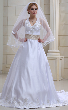 A-formet/Prinsesse Grime Kapell Train Satin Brudekjole med Broderi Bånd Perlebesydd (002000039)