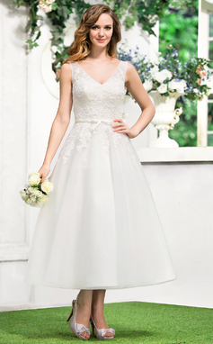 A-Line/Princess V-neck Tea-Length Tulle Lace Wedding Dress With Bow(s) (002052767)