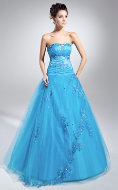 Ball-Gown Sweetheart Floor-Length Tulle Prom Dress With Beading Appliques Lace Sequins (018135345)