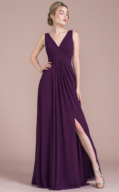 A-Line/Princess V-neck Floor-Length Chiffon Bridesmaid Dress With Ruffle Split Front (007105590)