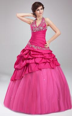 Платье для Балла С бретелью через шею Длина до пола Тафта Тюль Пышное платье с Вышито Рябь Бисер (021002885)