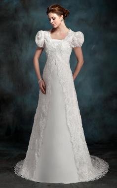 Forme Princesse Sans bretelle Traîne moyenne Satiné Robe de mariée (002000218)
