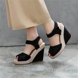 Женщины сетка Вид каблука Танкетка с Соединение врасщеп обувь (087209078)