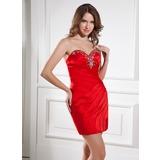 Платье-чехол В виде сердца Мини-платье Атлас Коктейльные Платье с Бисер (016015440)