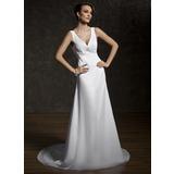Трапеция/Принцесса V-образный Церемониальный шлейф шифон Свадебные Платье с Рябь кружева Бисер (002011583)