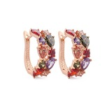 Colourful Zircon/Rose Gold Plated Women's Earrings (011057415)