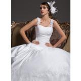 Платье для Балла В виде сердца Церемониальный шлейф Атлас Органза Свадебные Платье с Рябь кружева Бисер (002011422)