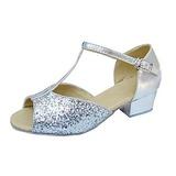 Детская обувь кожа Мерцающая отделка На каблуках Сандалии Латино с Т-ремешок Обувь для танцев (053013374)