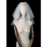Seven-tier Cut Edge Shoulder Veils With Satin Bow (006209279)